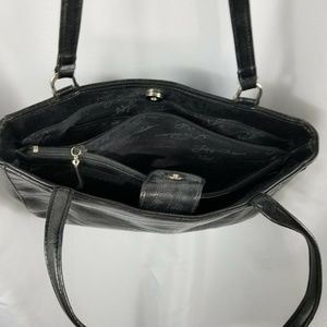 LUCY PEREDA Bags - Lucy Pereda Black Faux Leather Bag Purse Snake